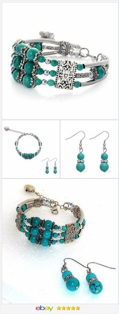 Magnasite Bracelet and earring set Turquoise color  50% OFF #ebay http://stores.ebay.com/JEWELRY-AND-GIFTS-BY-ALICE-AND-ANN