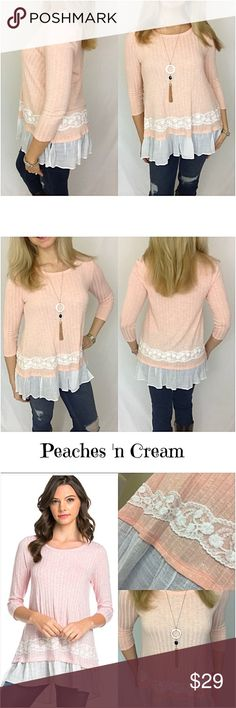 "Peaches N Cream Ruffle Hem To S/M Lovely peach top with ivory lace detail & ruffle hem. Doesn't get much prettier than this. Soft, feminine, flowy & stretchy. Flattering mid-section (yay). Dress up or down. Pair with leggings or your favorite jeans/pants. Polyester - rayon - spandex.   Small Will Fit Medium Bust 32-34-36 Length 27"" Medium Will Fit Large Bust 38-40 Length 27.5"" Large Bust 42-44 Length 28"" Ruffle like hem Tops Tunics"