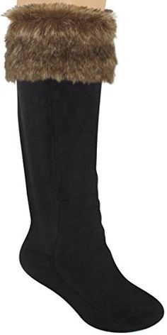 Capelli New York Ladies Tall Rain Boot Liner With Faux Mink Fur Black Combo Large >>> Details can be found by clicking on the image.