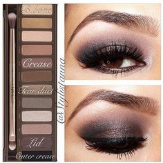 shadow placements using UD naked palette Dark eye makeup. Makeup Goals, Makeup Tips, Makeup Tutorials, Makeup Ideas, Maquillage Urban Decay, Urban Decay Makeup, Eye Makeup, Vamp Makeup, Night Makeup