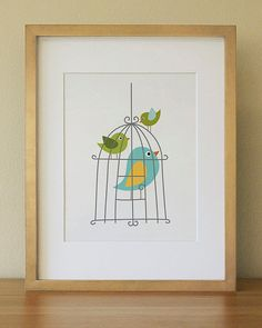 Bird . Children Wall Art . Baby Nursery Wall Art by Luliloola, $20.00