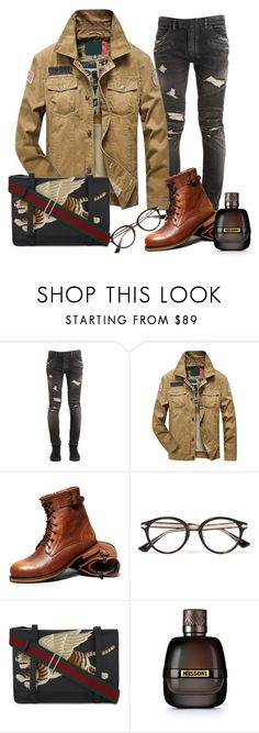 """""""Sin título #884"""" by azulgres ❤ liked on Polyvore featuring Balmain, Gucci, Missoni, men's fashion and menswear"""