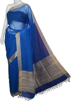 Azure Blue Bengal Cotton Silk Saree with Blouse