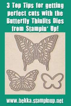 3 Top Tips for getting Perfect Cuts with the Butterfly Thinlits Die from Stampin' Up! UK Tip 1 - Wax Paper To really help the intricate die release the paper you have cut add a layer of waxed paper between the die and the card / paper you are cutting. Tip 2 - Pokey Tool and a sheet of scrap paper Tip 3 - Roll, Roll and Roll Again
