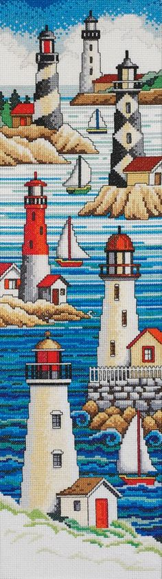 Janlynn Cross Stitch Kit, 21-Inch by 6-Inch, Lighthouses
