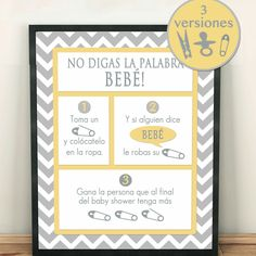 Don't say baby SPANISH. Size x Includes 3 versions. Yellow and silver chevron. Unisex Baby Shower, Lion King Baby Shower, Baby Shower Princess, Baby Boy Shower, Budget Baby Shower, Baby Shower Games, Aperitivos Para Baby Shower, Juegos Baby Shower Niño, Baby Shower Pictures