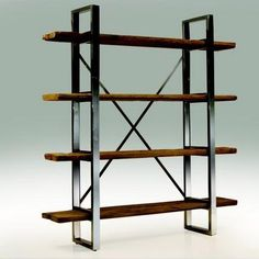 Mobital PROVENCE-Bookshelf Provence Bookshelf in Reclaimed Solid Pine Wood Top with Stainless Steel Legs