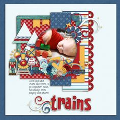 This is our little train man!  Dandelion Dust Designs-Fabulous Fourth http://store.gingerscraps.net/Fabulous-Fourth-By-Dandelion-Dust-Designs.html Boomer's Girl All Aboard Extras: http://store.gingerscraps.net/All-Aboard-Extras-Pack-by-BoomersGirl-Designs.html Aprilisa Smooth sail alphabets: http://store.gingerscraps.net/Smooth-Sea-Ahead-Alpha-by-Aprilisa-Designs.html Luv Ewe Designs: Dr orders templates: http://store.gingerscraps.net/Doctor-s-Orders-Templates.html