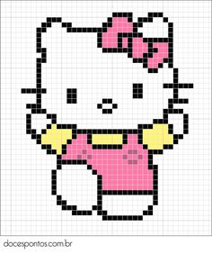 Hello Kitty perler bead pattern... Could be used for Rainbow Loom