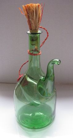 Stunning Green Hand Blown Glass Decanter by AndWorksWithHerHands