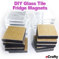 "DIY Fridge Magnet Kit ~ Makes 20 1"" Square Glass Tile Fridge Mags ~ everything you need to make INSTANT peel and stick clear glass fridge mags ~ add your own ART, PHOTOS, PRINTOUTS or SCRAP PAPER #ecrafty #fridgemagnets #diyfridgemagnets #diycrafts #diygifts #diychristmas www.eCrafty.com WWW.ECRAFTY.COM"