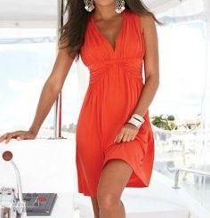 Šaty letní plážové,elegantní, oranžové jednobarevné LM39