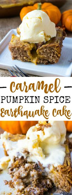 This Caramel Pumpkin Spice Earthquake Cake is a delicious combination of spice cake, pumpkin cream cheese, chocolate and caramel all baked up ooey and gooey!