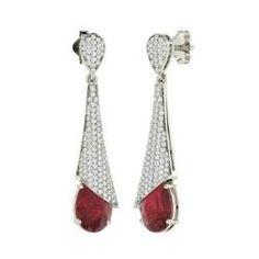 Ilene, Pear-Cut Ruby Earrings in 14k White Gold with SI Diamond
