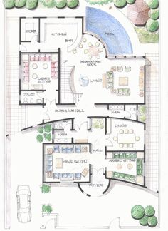 297919093.gif ٣٩٤×٥٤١ pixels House Plans Mansion, Luxury House Plans, Dream House Plans, House Floor Plans, Home Map Design, Home Design Floor Plans, House Layout Plans, House Layouts, Model House Plan