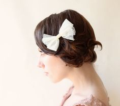 Point d'esprit fabric clip Hair bow Bridal hair by whichgoose