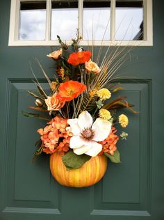 Thanksgiving,Hanging Wall or Front Door, Pumpkin WREATH  Pale ORANGE and YELLOW striped Pumpkin in assorted Fall Silks. $55.00, via Etsy.