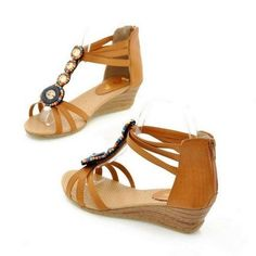"""Shoe Width:Medium(B,M) Back Counter Type:Cover Heel Process:Adhesive Side Vamp Type:Open Closure Type:Slip-On Upper Material:PU Insole Material:TPR Heel Height:Med (1 3/4"""" to 2 3/4"""") Fashion Element:Rome Decorations:Beading Pattern Type:Checkered Gender:Women Sandal Type:Ankle-Wrap S..."""