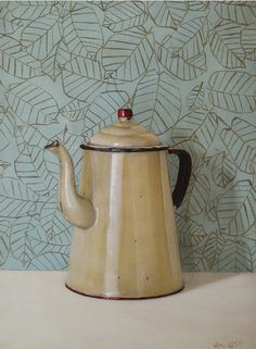 Enamel Coffee Pot by Holly Farrell, This would be perfect hanging in my kitchen!