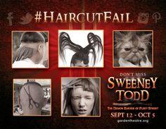 Haircut fails as part of the Garden Theatre's presentation of Sweeney Todd: The Demon Barber of Fleet Street. gardentheatre.org/plays, @GardenTheatre #HaircutFail