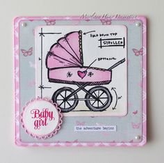 Welcome baby girl card - Tim Holtz Baby Blueprints stamp