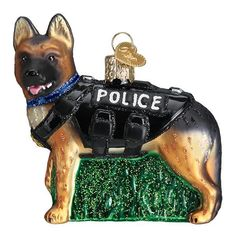 Police Dog Ornament Old World Christmas Glitter Accents New Wearing Vest 729343125460 Old World Christmas Ornaments, Christmas Gift Box, Christmas Store, Christmas Dog, Gold Christmas, Ornament Hooks, Dog Ornaments, How To Make Ornaments, Glass Ornaments