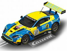 The Carrera Aston Martin V12 Vantage GT3 Bilstein No 97 2013 Slot Car, is a superbly detailed Carrera Evolution race car for use on any 1/32 analogue slot car layout layout.