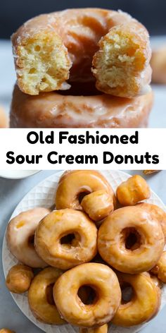 These Old Fashioned Sour Cream Donuts are cakey & moist, with a nice crust. They're dipped in glaze & taste just like at the donut shop. #sourcreamdounuts #oldfashioneddonuts #oldfashionedsourcreamdonuts #oldfashionedsourcreamdonutrecipe Easy No Bake Desserts, Dessert Recipes, Breakfast Recipes, Awesome Desserts, Breakfast Pastries, Breakfast Ideas, Donut Recipes, Baking Recipes, Vegan Recipes
