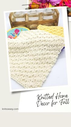 Fall Home Decor, Autumn Home, Knitting Projects, Knitting Patterns, Knitting Ideas, Fall Knitting, Fall Crafts, Knit Crochet, Thanksgiving