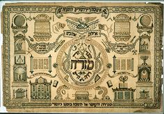 A mizrach serves as a symbolic orientation towards Jerusalem, the direction towards which prayer is oriented. This highly complex mizrah illustrates Moses Henry's patriotism with the motif of the American eagle astride a shield and bunting of the Stars and Stripes. The architectural images also make reference to the ideals of Freemasonry, as during the nineteenth century many Jews began to join Masonic orders. This mizrah has a second function as an omer calendar, as the forty-nine rounde...