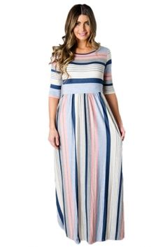 670a48b9f94e Light Multicolor Striped Half Sleeve Casual Maxi Dress