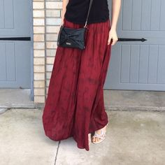 """Full Tilt Maxi Beautiful deep maxi with two shades of red. Easily dressed up or down with a smocked waistband for comfortable fit. Worn a few times but in good overall condition. Middle photo shows some pilling in back. Skirt length is about 38"""". Full Tilt Skirts Maxi"""