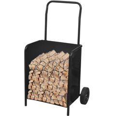 Firewood Log Cart Carrying Trolley Portable Indoor Outdoor Fire Wood Carrier