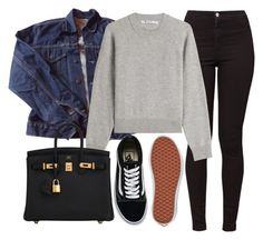 """Sin título #14211"" by vany-alvarado ❤ liked on Polyvore featuring American Apparel, Levi's, T By Alexander Wang, Hermès and Vans"