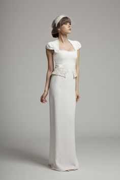 Lena - Modest silk crepe dress from Melanie Potro's new 2014 Bridal Wear Collection. Lace detail along neckline and peplum Crepe Wedding Dress, Stunning Wedding Dresses, Modest Wedding Dresses, Crepe Dress, Dresses Uk, I Dress, Silk Crepe, Bridal Gowns, Wedding Gowns