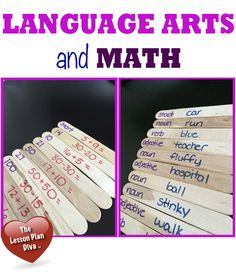 mental math and language arts - craft sticks - self-checking center