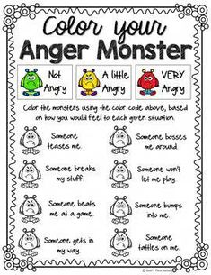 My Anger Monster, an Anger Management activity My Anger Monster, an Anger Management activity,Creative Social Worker Related posts:How to Teach Social Skills, Step by Step - EducationTricks to Teaching Character Types - EducationIEP Counseling. Social Emotional Activities, Emotions Activities, Counseling Activities, Social Work Activities, Play Therapy Activities, Counseling Worksheets, Elementary School Counseling, School Social Work, School Counselor Organization