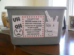 Pick A Chore Box to Retrieve Confiscated Toys