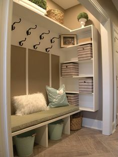 Just a few weeks ago I helped a client turn an unorganized unused hall closet into a family friendly mud room. Thought I would share& The post Just a few weeks ago I helped a client turn an unorganized unused hall closet in& appeared first on Dekoration. Front Closet, Hallway Closet, Closet To Mudroom, Closet Bench, Entryway Bench, Entry Closet Organization, Closet Nook, Closet Storage, Shelves For Closet