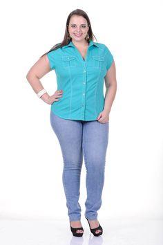 Moda feminina plus size   86813 Camisete lisa com bolso
