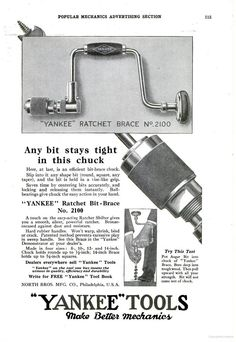 """For reference. An ad for a """"Yankee"""" Ratchet Brace no. 2100, circa 1925"""