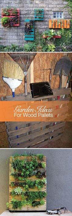 5 DIY Garden Ideas for Wood Pallets! like the stand ideas for tools....lol so neighbors dog will stop stealing my stuff