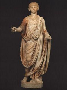 Emperor Nero as boy, Roman statue (marble), 1st century AD, (Musée du Louvre, Paris).