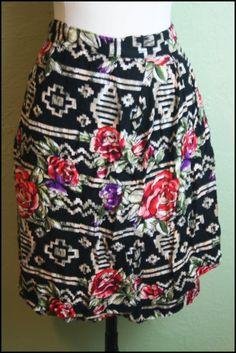 90s  Floral Mini Skirt