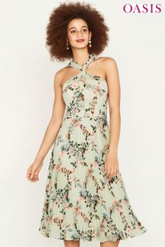 Buy Oasis Green Fitzwilliam Twist Neck Pleated Midi Dress from the Next UK online shop Pleated Midi Dress, Floral Prints, My Style, Wedding, Clothes, Green, Dresses, Oasis Uk, Uk Online