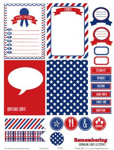Patriotic Journaling Cards - Free printable download for personal use only.