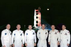 Apollo 8 prime crew Frank Borman, Jim Lovell & William Anders (right) and backup crew Neil Armstrong, Buzz Aldrin and Fred Haise (left) Nasa Astronauts, Space Astronauts, Apollo Spacecraft, Space Lab, Apollo Space Program, Project Mercury, American Space, Apollo Missions, Space Travel