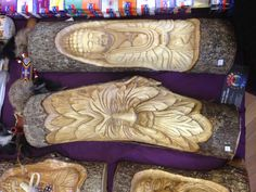 Balinese wooden log carvings each Log Furniture, Balinese, Cowboy Boots, Wood Carvings, Crafty, Logs, Image, Wood Carving, Balinese Cat