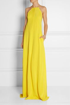 KAUFMANFRANCO's design duo Ken Kaufman and Isaac Franco have a special talent for making body-conscious pieces look effortless. Cut from swathes of velvet-soft washed-silk, this paneled gown wraps at the back and gently follows the lines of your figure. Wear it to a summer event with a metallic bag and sandals - the vibrant yellow hue beautifully complements bronzed skin.