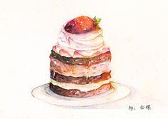 草莓小蛋糕-白蝶_水彩 _涂鸦王国插画